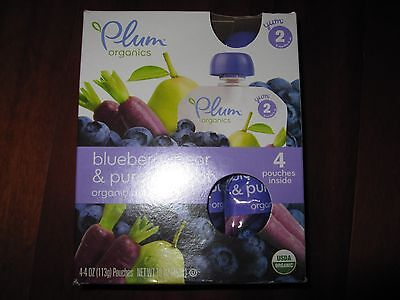 Plum Organics Baby Food, Blueberry, Pear & Purple Carrot - 4 OZ (Pack 4)