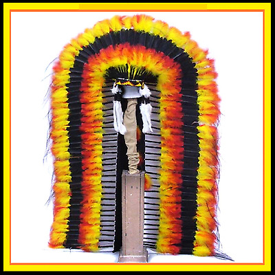 Genuine Native American Navajo Indian headdress 68 inch BLACK SUN DANCER TRAILER