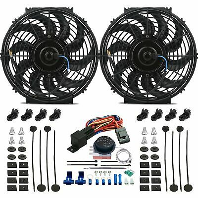 """Dual 12"""" Inch Electric Radiator Fan-S Kit Adjustable Temp Thermostat Controller"""