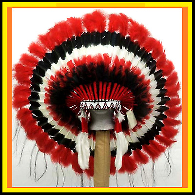 Genuine Native American Navajo Indian headdress 36 inch CHEROKEE Red Black White