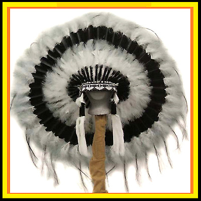 Genuine Native American Navajo Indian headdress 36 inch CLOUD CHASER Black White