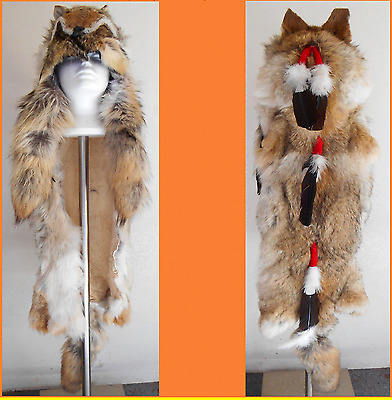 Genuine Native American Navajo Indian Headdress Full Coyote Medicine Man Shaman