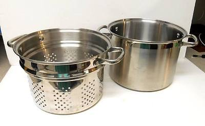 """Chef Style"" Heavy Duty Stainless Steel 8qt STOCK POT & Pasta STRAINER"