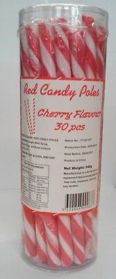 Red Cherry Flavour Candy Poles (540g - 18g Each) Pk 30
