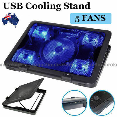 "AU Ship Adjustable Height Laptop Notebook Cooling Pad 5 Fans Blue LED Fit 7""-17"""