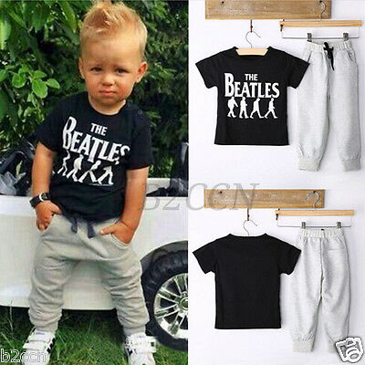 Kids Newborn Baby Boys Clothes Sets Toddler T Shirt + Pants Summer Outfits Suit
