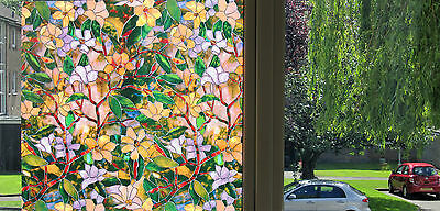 Premium Floral PAINTED Stained Glass Decorative Vinyl Privacy Static Window Film