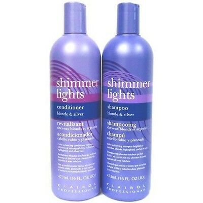 Clairol Professional Shimmer Lights Hair Shampoo Conditioner For Blondes Silver
