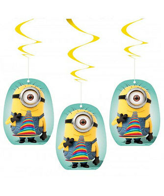3 x DESPICABLE ME MINIONS HANGING SWIRLS Birthday Party Decorations 44158FM
