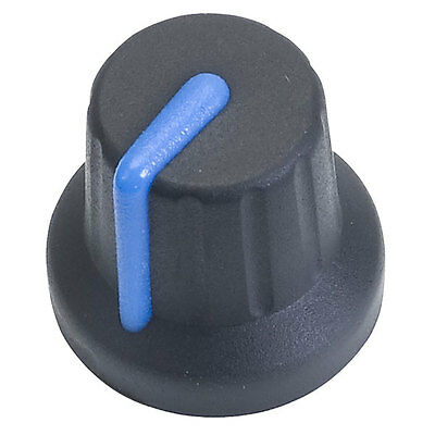 2 x Soft Touch Control Knob Black With Blue Pointer 6mm Splines