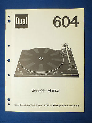 Dual 604 Turntable Service Manual Original Factory Issue The Real Thing