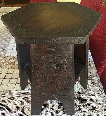 Beautiful Carved Asian Hexagonal Stool / Table
