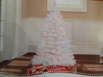 4 Ft White Christmas Tree Pre Lit Indiana Spruce 173 Tips 150 Multi Lights New