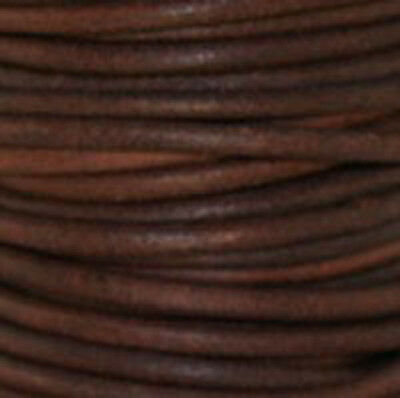 Red Brown - Premium Natural Dye Round Leather Cord  *