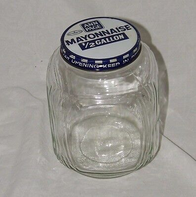 Vintage Ann Page Glass Mayonnaise Jar 1/ Lid 1/2 Gallon Clear 17889
