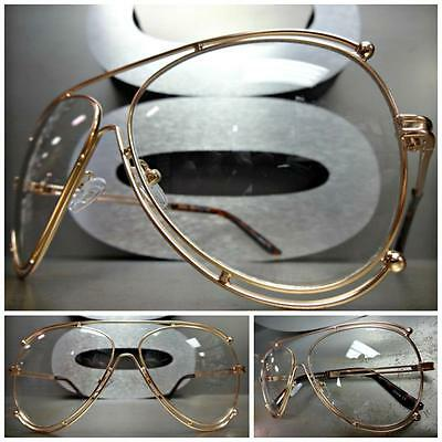 CLASSIC VINTAGE RETRO Style Clear Lens EYE GLASSES Rare Rose Gold Fashion Frame