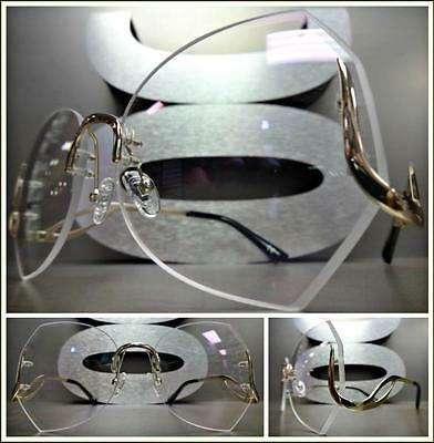 OVERSIZED DESIGNER Style Clear Lens SUN GLASSES Upside Down Gold Rimless Frame