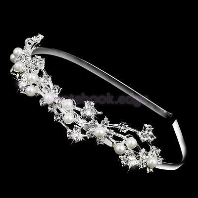Wedding Bridal Bridesmaid Rhinestone Crystal Pearls Headband Tiara Headpiece