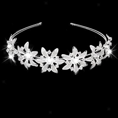 Wedding Bridal Charm Flower Crystal Tiara Crown Headband Headpiece Silver