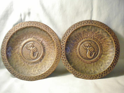 Vintage Hand-Hammered Copper Plaques With Mermaid Decoration