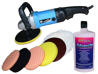Silverline Mop  Car Polisher Kit + 8 Heads + One Step Awesome Renovator