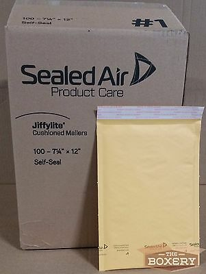Jiffylite® USA #1 7.25x12'' Kraft Cushioned Bubble Mailers 100/cs - TheBoxery