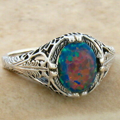 Vintage Antique Style .925 Sterling Black Lab Opal Silver Ring Size 9,   #803