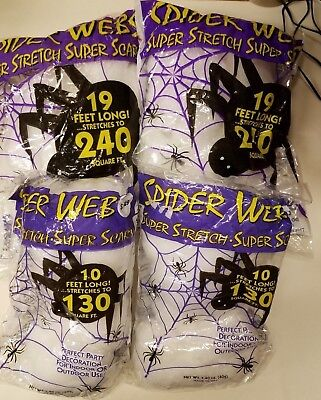 Halloween Spider Webs White Super Stretch 2 10' Bags 2 19' Total 540 Square Feet