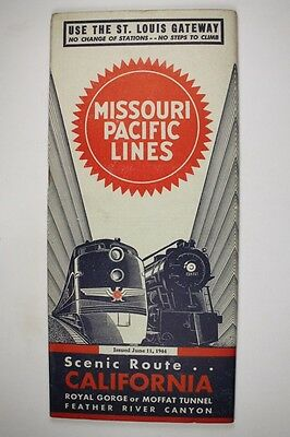 Missouri Pacific Railroad Public Timetable MP MOPAC June 11, 1944 Train RR PTT