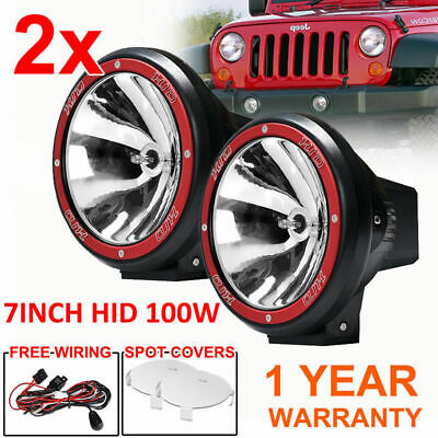 2X 7INCH HID 100W Driving Lights XENON Spot Offroad Lamp UTE WORK RED AU SELLER