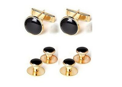 NEW Black Gold Tuxedo Cuff links Formal Shirt Studs Tux Cuff Links USA