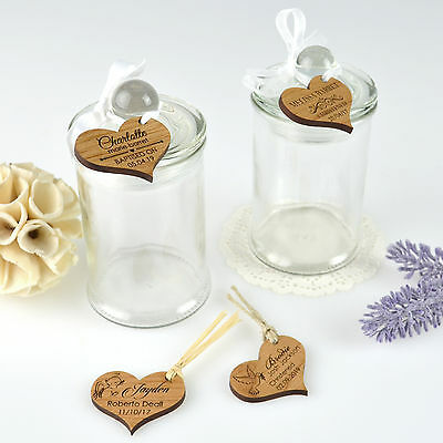 Round Christening & Baby Shower Lolly/Sweet Jars with Engraved Wooden Gift tags