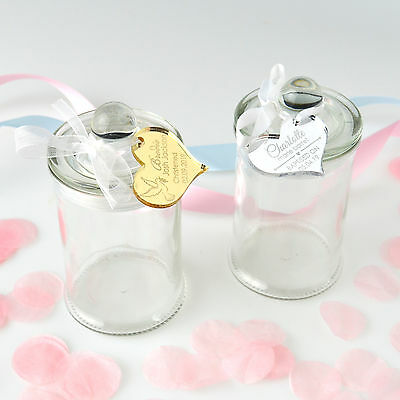 Round Christening & Baby Shower Lolly/Sweet Jars with Engraved Acrylic Gift tags