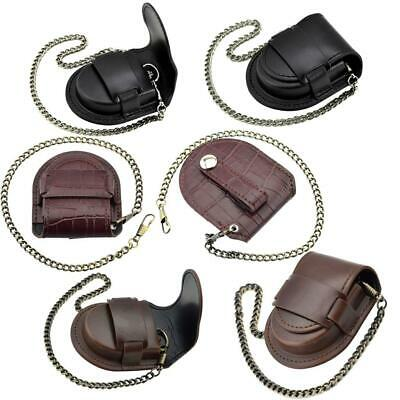 Leather Chain Pocket Watch Holder Storage Case Box Coin Purse Pouch Bag