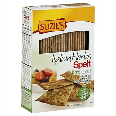 Suzies Spelt Flatbreads with Italian Herbs 4.5-Ounce Boxes -Pack of 12