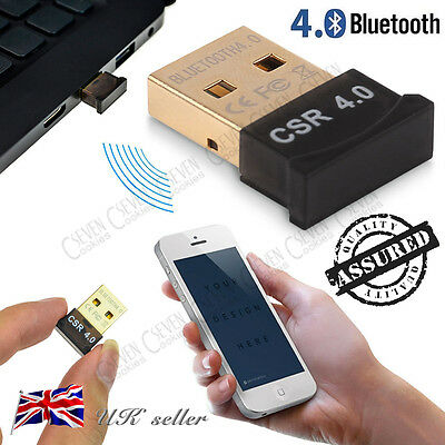 UK New V4.0 USB Bluetooth Dongle Wireless Adapter EDR for PC Win 7 8 10 Vista XP