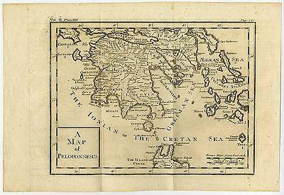 Antique Map-GREECE-PELOPPONESUS-PELOPPONESE-CRETE-1727