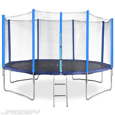 14ft Trampoline with Ladder Safety Net Enclosure Padding Rain Cover Kids Adults