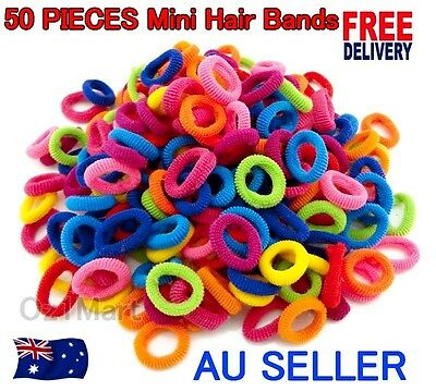 50 Pcs TINY Colorful Kids Girls Baby Hair Holders Rubber Bands Hair Elastics Gum
