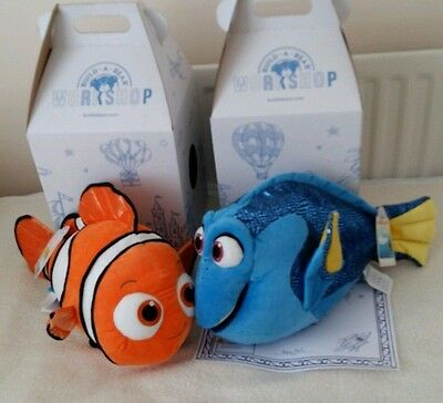 Build A Bear Large Plush Dory And Nemo With  Sound + Certificates And Boxes Bnwt
