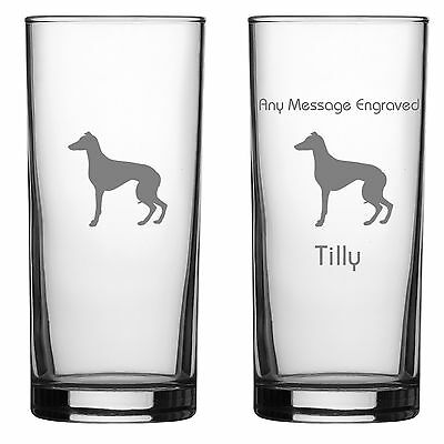 Whippet Dog Gift Engraved Highball Glass: Can Be Personalised With Your Message