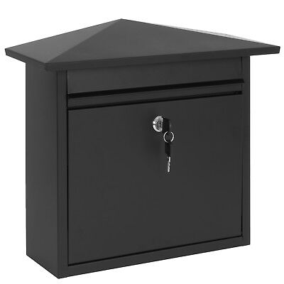 Hartleys Lockable Black Steel Wall Post Box Letter/mail Large Mailbox/letterbox