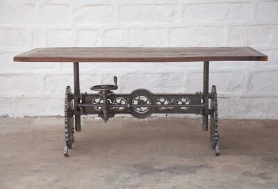 """84"""" Industrial Crank dining table iron steam punk gears solid wood top"""