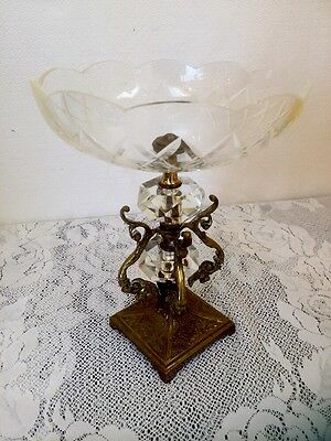 "Vtg Large Ornate Brass Cut Crystal Compote Dish Centerpiece 10"" Tall"