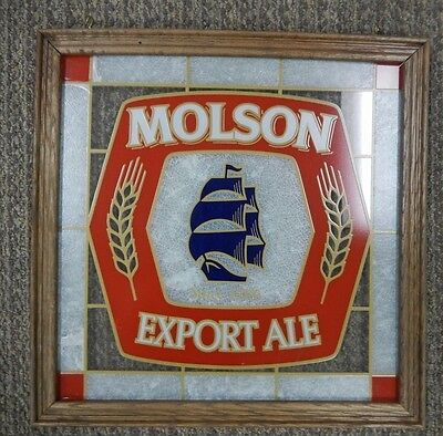 New Old Stock Molson Export Ale Hanging Glass Beer Sign
