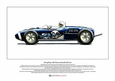 Stirling Moss Lotus 18 Monaco 1961 Limited Edition Fine Art Print A3 size