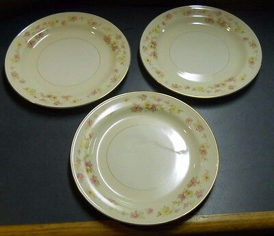 """Homer Laughlin Lot 3 Eggshell Nautilus Plates 9 3/8"""" A47 N5 Hlc 779 Floral Ring"""