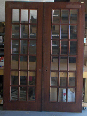 "1 Pair Mahogany & True Divided Glass Doors for 6'-0"" x 8'-4"" X 1 3/4""(72""x100"")"