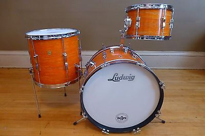 Vintage 1967 Ludwig 3pc Mod Orange Club Date Drum Kit Set