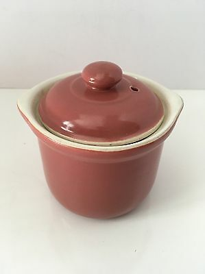 Vintage Hall China Onion Soup Bowl with Vented Lid Old Rose 470 1/2